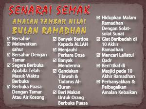 Senarai semak amalan tambah nilai Ramadhan