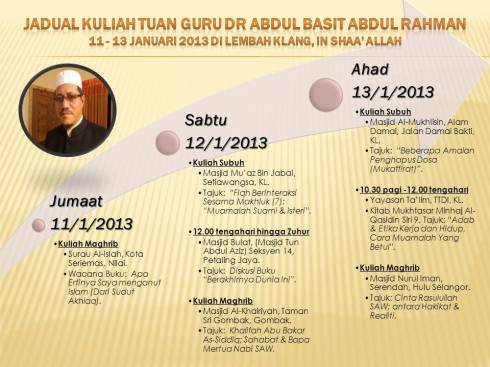 Jadual kuliah Dr Abdul Basit