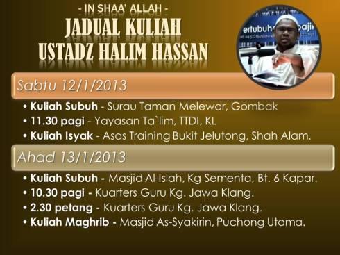 Jadual kuliah Ust Halim Hassan