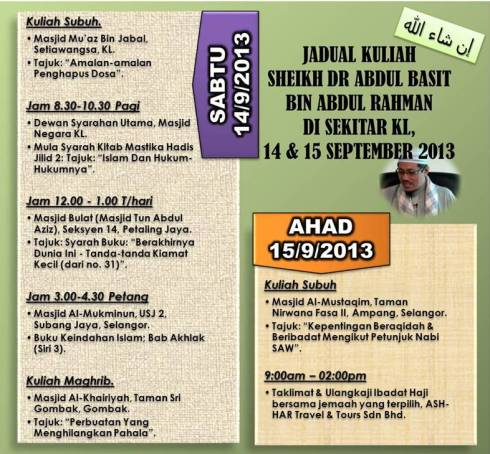 JADUAL DR ABDUL BASIT SEPTEMBER 2013