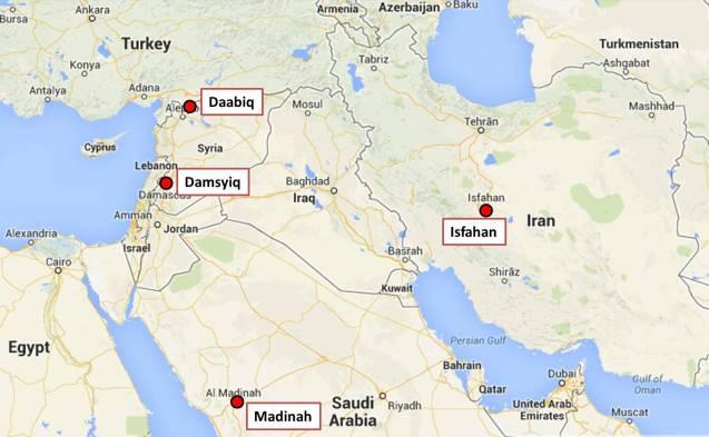 Peta menunjukkan lokasi beberapa tempat yang disebutkan di dalam hadith-hadith di atas.