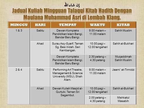 Jadual Kuliah Mingguan Talaqqi Kitab Hadith Dengan Maulana