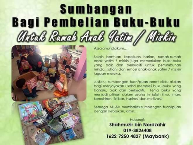 projek buku untuk rumah anak2 yatim poster