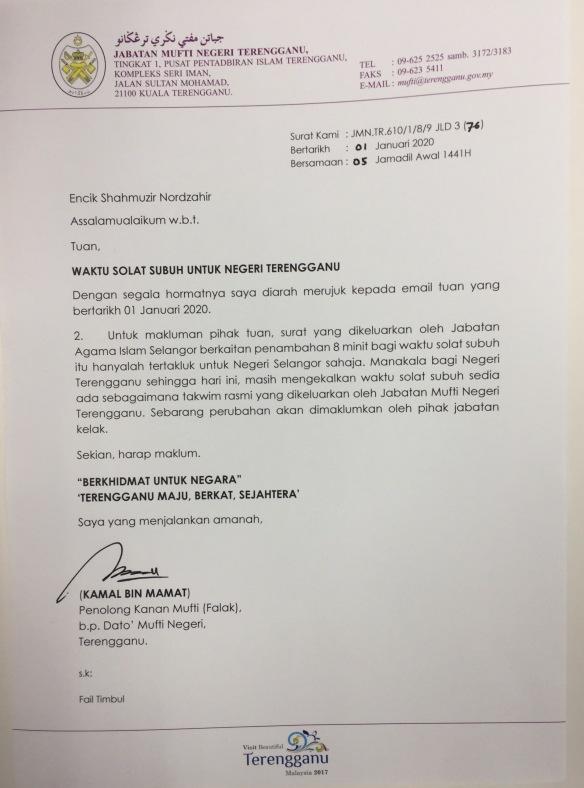 Waktu Subuh Negeri Terengganu Kerana Dia
